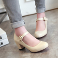 Mid Heels Women Shoes Mary Janes Ladies White Wedding Shoes Thick Heel Pumps Black Pink Beige Large Size