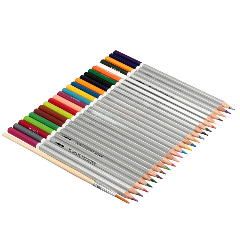 Affordable Water soluble Crayons Colored pencils Wooden pencils Crayons +brushes, 24/36/48Colors new arrival 24 36 48 water soluble water color pencils standard pencil wooden pencil and brush set artists supply