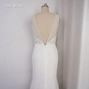 Image 2 - عميق الخامس العنق فستان الزفاف غمد الشيفون الدانتيل فستان زفاف أنيق