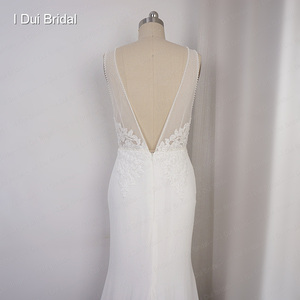 Image 2 - Deep V Neckline Wedding Dress Sheath Chiffon Lace Elegant Bridal Gown