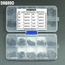 DAWABO 300Pcs/lot boxed fishhook #3-#12 High carbon steel  HOOK black color Jig Big Hook Corrosion Fishing Hooks Fishing Tackle