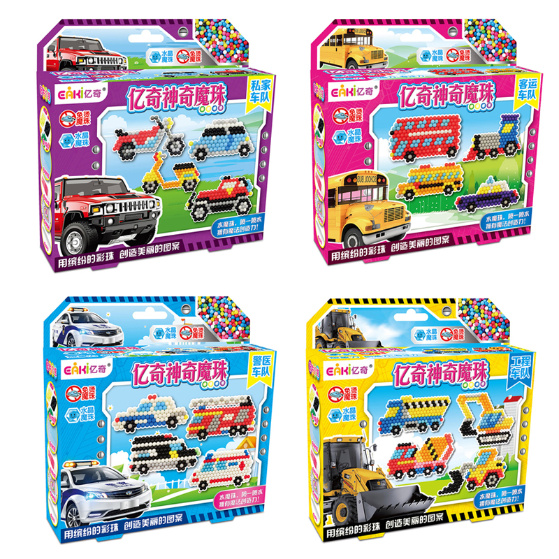DOLLRYGA DIY Magical Water Beads Manual 3D Sticky Beads Transportation Excavator Fire Truck Kids Birthday Gift For Children