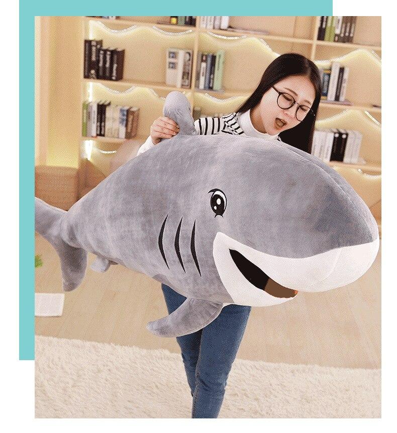 Gros jouet en peluche requin gris belle peluche monde sous-marin requin poupée cadeau environ 120 cm