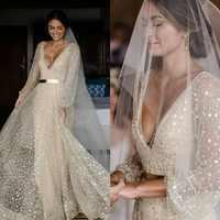 Блестящее свадебное платье трапециевидной формы с длинными рукавами, v-образным вырезом и блестками; Свадебные платья с открытой спиной; ...