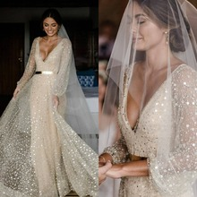 Sparkly A Line Wedding Dress Long Sleeves V Neck Sequined Bridal Gowns Backless