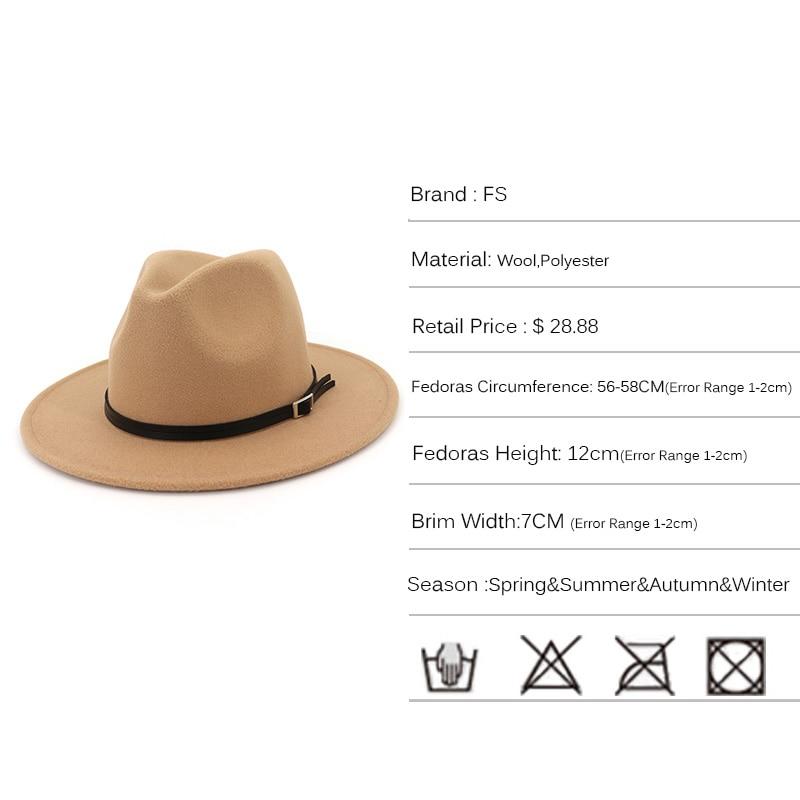 dc554cabf FS Autumn Navy Black Fedora Hat For Men Godfather Top jazz Cap Classical  Wide Brim Felt Women Winter Church Hats With Belt