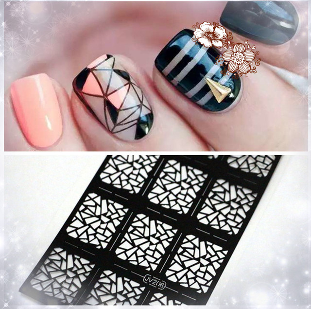 Party Decoration French Lace Nail Art Vinyl Reusable Nail Stencil ...