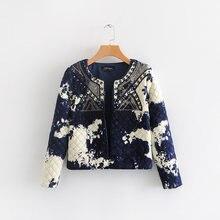 9bf5c45958 Chaqueta acolchada Paisley estampado Floral tinta Graffiti lentejuelas bordado  étnico chaqueta acolchada fina Vintage para mujer