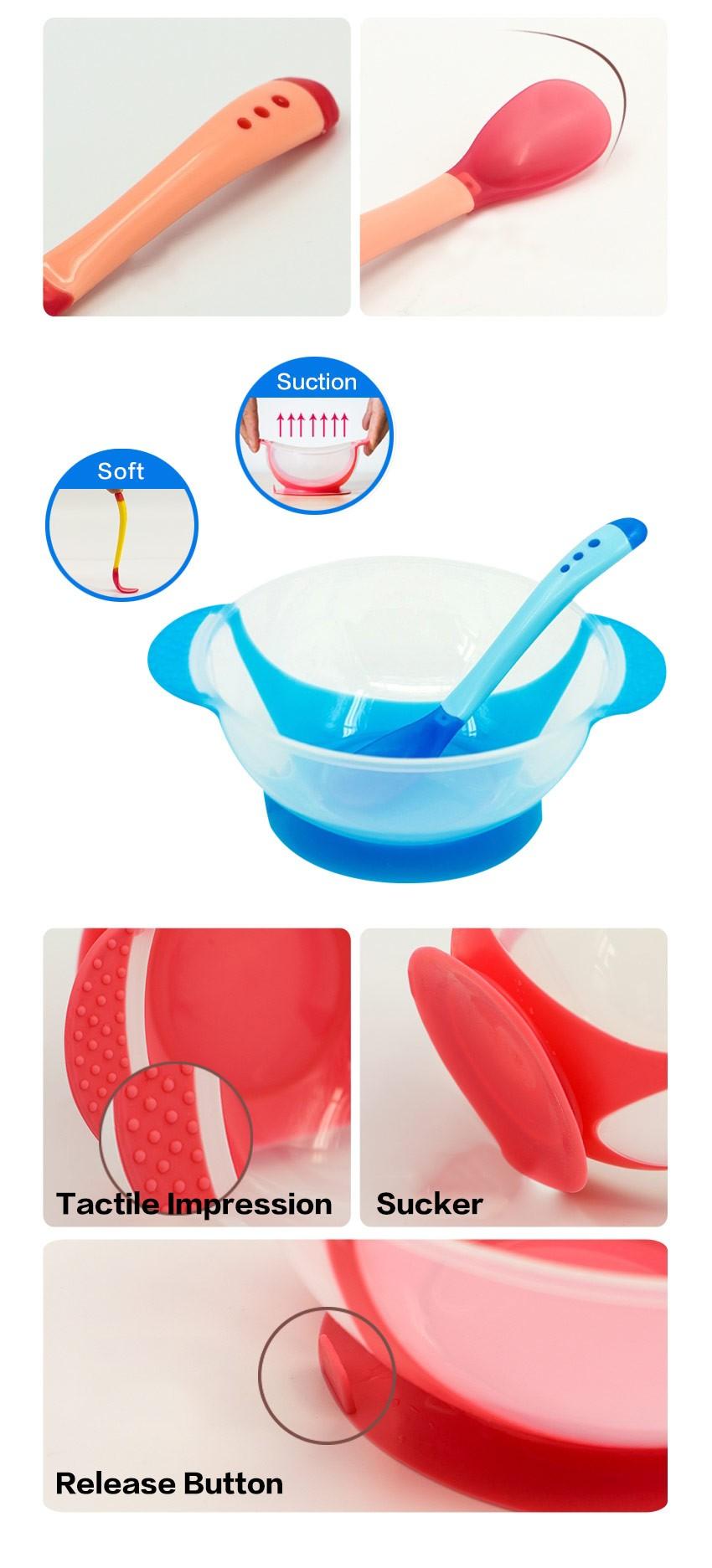 Naczynia stołowe dziecko nauki dla dzieci z ssania cup assist żywności łyżka karmienia dziecka miska miska temperature sensing 3
