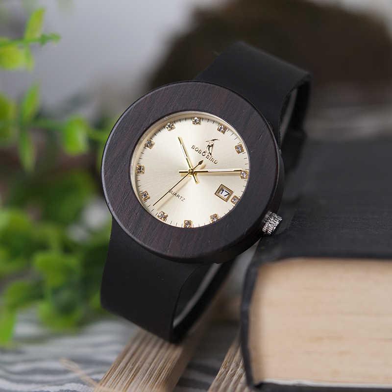BOBO BIRD relojes para mujer reloj de pulsera Retro de madera para mujer reloj femenino con correa Calendario de cuero negro