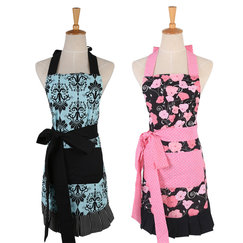 Waterproof Kitchen Apron Woman Rose Skeleton Cooking Apron European American Style Household