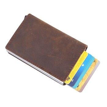 男性ブロッキング Rfid 財布ミニ 100% 本革ビジネスアルミニウムクレジットカードホルダー財布自動ポップアップカードケース