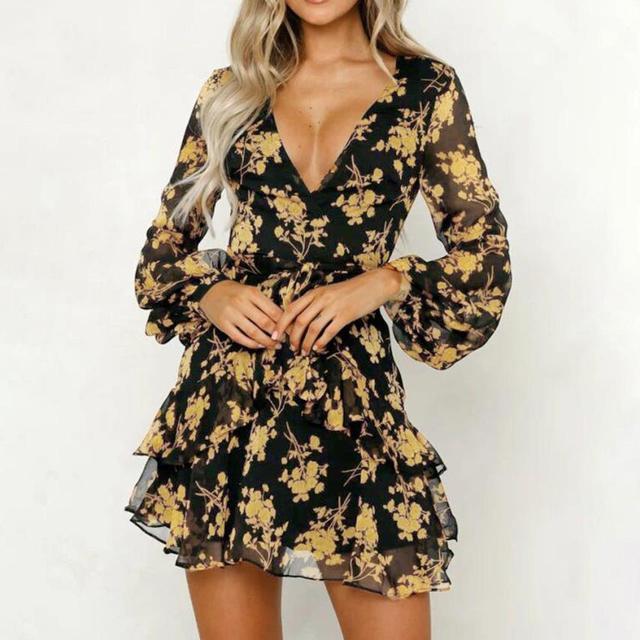 Dress Floral Leaf Printed...
