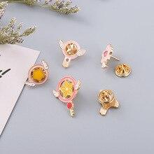 цена на Card Captor Sakura Kero Sword Cosplay Brooches Enamel Pin Lapel Pin Badge Wings Star KINOMOTO SAKURA