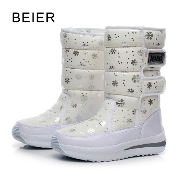 2016 mulheres botas de neve do floco de neve de algodão à prova d' água sapatos de super quentes de inverno das mulheres botas do tornozelo da plataforma
