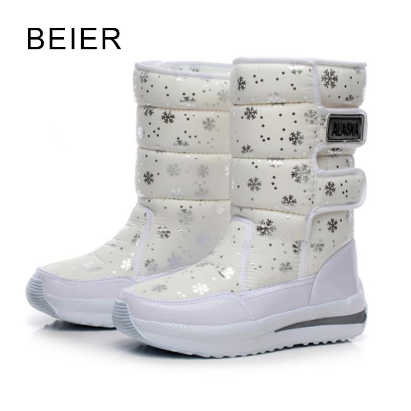 ФОТО 2016 women waterproof  snow boots snowflake cotton super warm shoes women's winter platform ankle boots