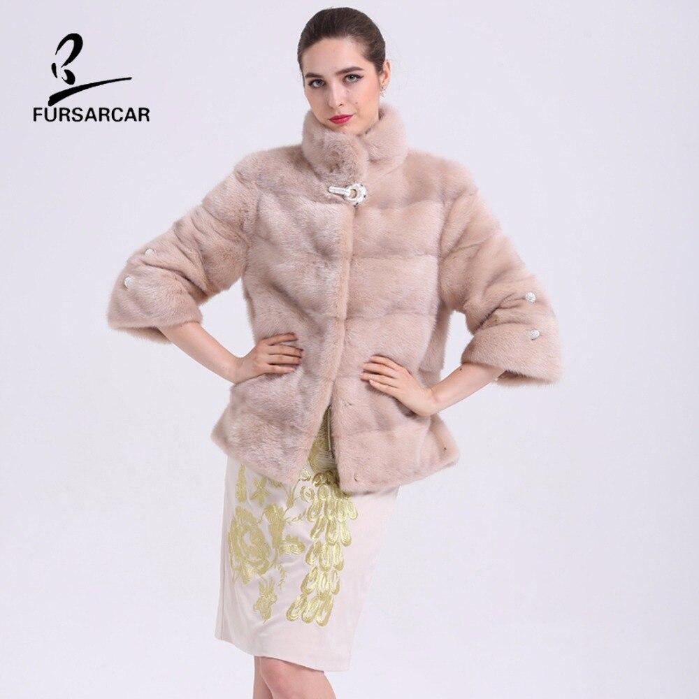 FURSARCAR Real Mink Fur Coat New 2019 Winter Jacket pro ženy Vrchní oblečení Full Pelt Originální Kožešinový oděv pro elegantní dámské kabáty