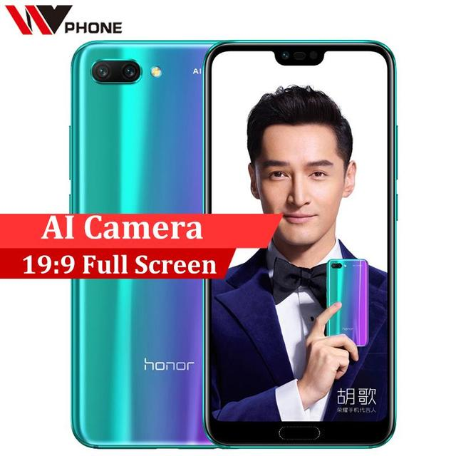 Huawei Honor 10 6G 64G 19:9 Full Screen 5.84 inch 2280x1080P AI Camera 24.0MP Mobile Phone Octa Core Fingerprint ID NFC
