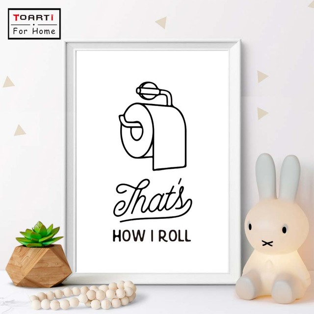 Funny Bathroom Print That\'s How i Roll Canvas Art Print Painting ...