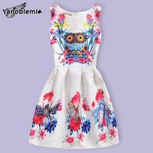 New Fashion Girls Brand Dress Children Cute Cartoon Animal Owl Printing Vest Dresses Kids Teenage Princess Casual Party Costumes