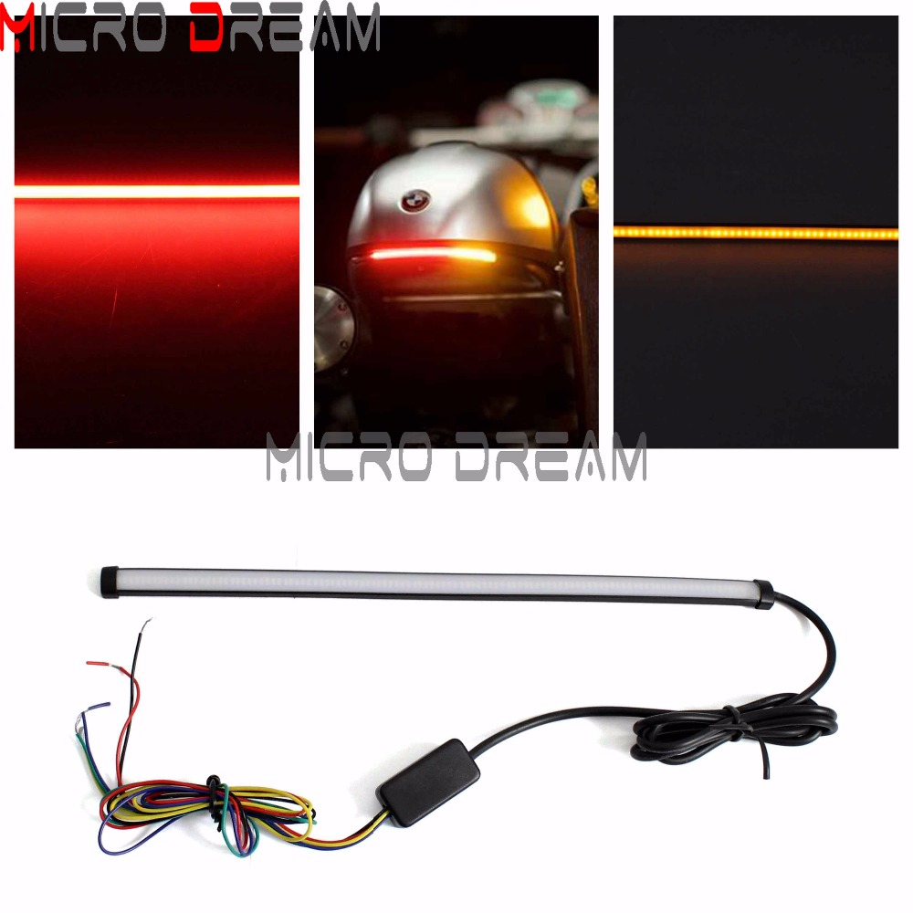 29cm Sequential LED Strip Light Motorcycle Switchback Strobe Brake Stop Light Stick On Tail Lamp W/ Flowing Turn Signals Lights