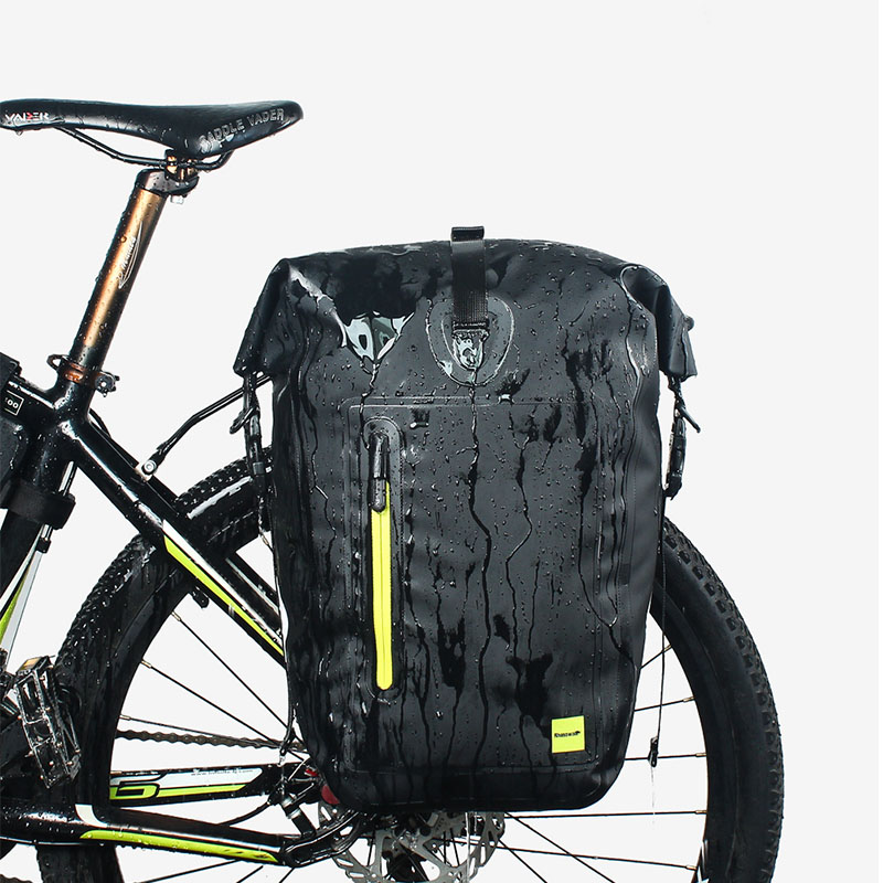 Rhinowalk 25L Cycling Bike Bags MTB Bike Rear Rack Bag Full Waterproof Multifunction Road Bicycle Pannier Rear Seat Trunk Bag roswheel 50l bicycle waterproof bag retro canvas bike carrier bag cycling double side rear rack tail seat trunk pannier two bags