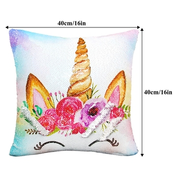 40x40cm Reversible Sequins Unicorn Cushion Cover For Sofa