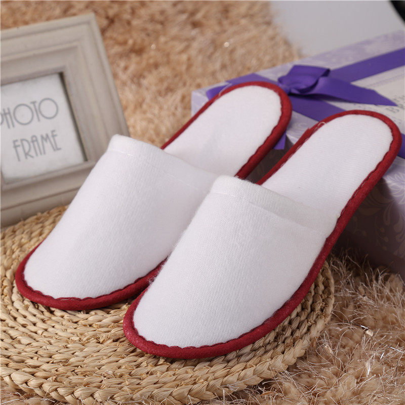 Non-disposable Home Indoor Slippers Thick Soles 10 pairs of White Towelling Hotel Disposable Slippers Terry Spa Guest Shoes