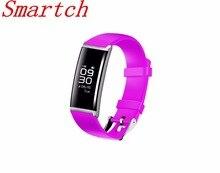 Smartch Bluetooth Smart Браслет Сенсорный экран сердечного ритма крови и Давление Мониторы здоровья Фитнес браслет шагомер Водонепроницаемый