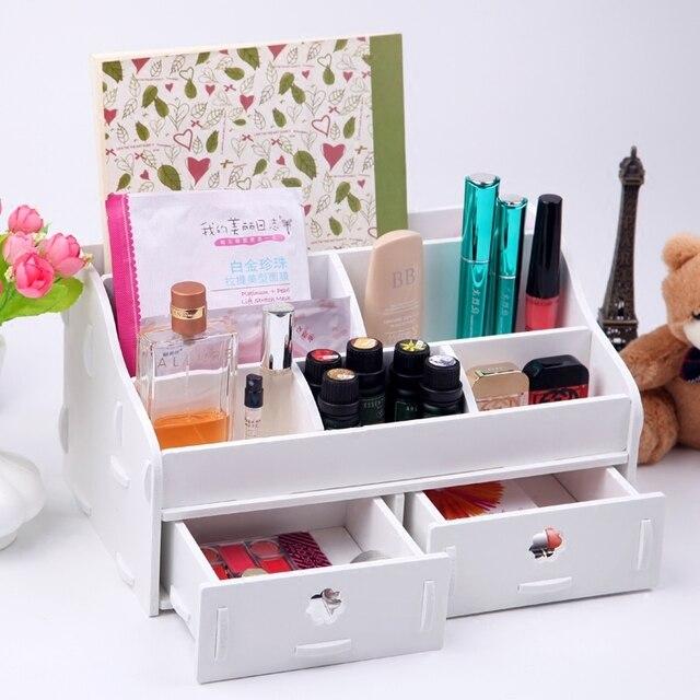 White Wooden Box Wash Gargle Bathroom Shelf Storage Box Toilet Dresser  Drawers Makeup Organizer Desk Organizer