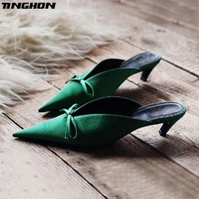 TINGHON Sexy Women High Heel Pumps Elegant Butterfly-knot Pointed Toe 4.5CM Thin Heel Slip-On Office Ladies Shoes