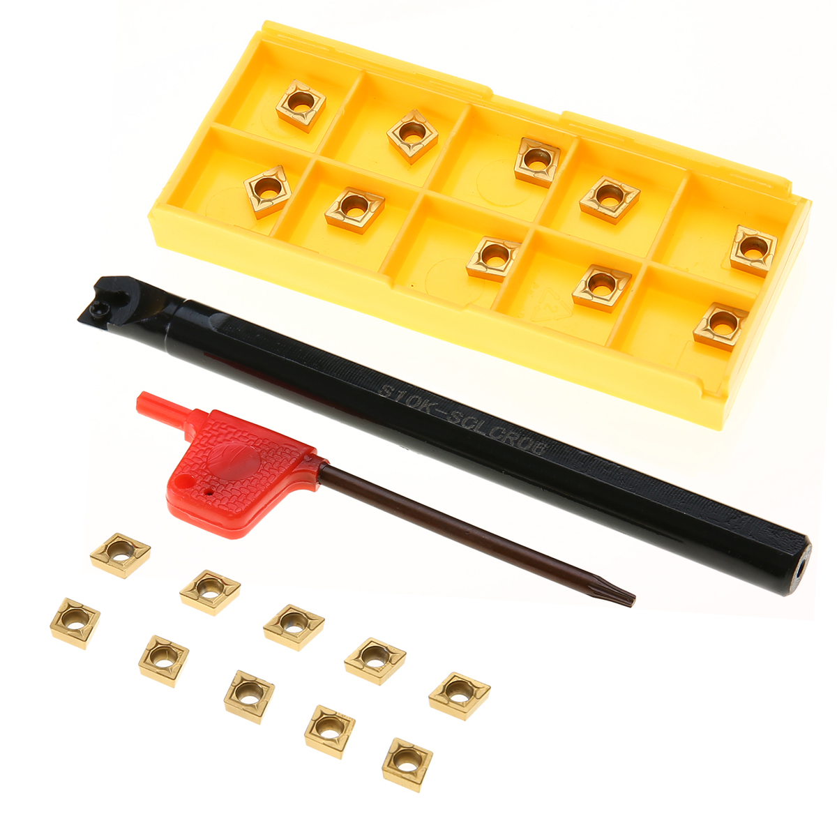 1pc S10K-SCLCR06 chato barra ferramenta titular + 10 pçs CCMT060204-HM inserções de carboneto chave para torno torneamento ferramenta