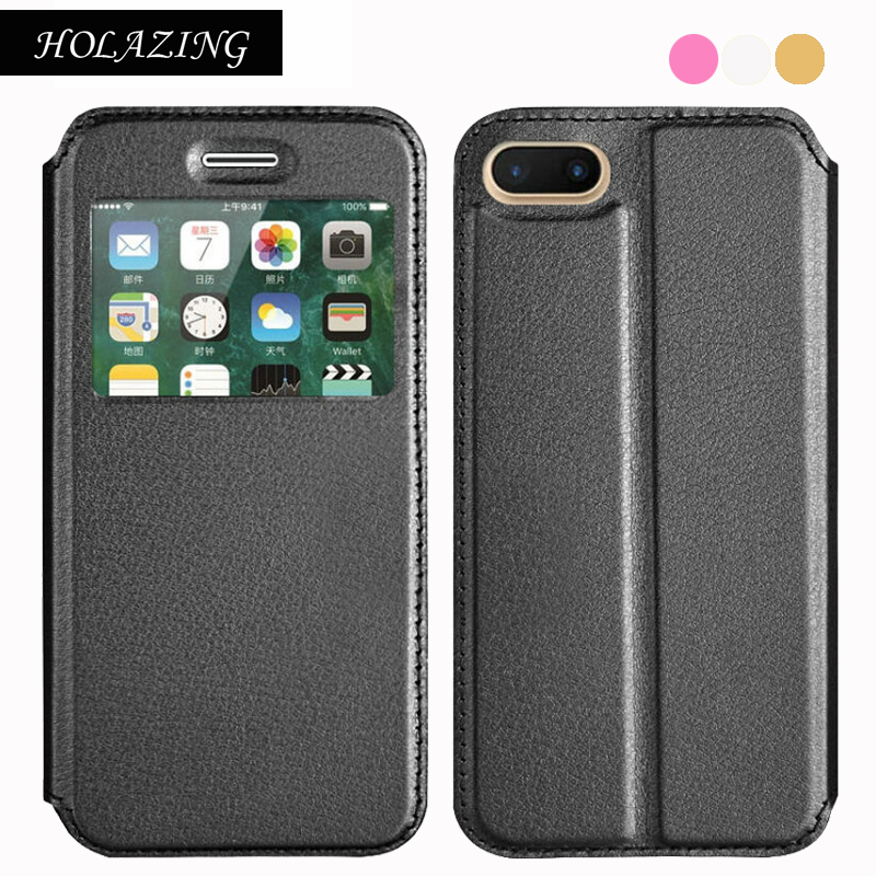 HOLAZING View Window Premium PU Leather Flip Cover Case for iPhone 7 4.7 Full Body Protective Shell Coque Funda