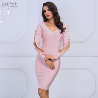 Adyce 2019 New Brand Autumn Bandage Dress Pink Women V Neck Long Sleeve Hollow Out Mini Dresses Celebrity Party Dress Vestidos