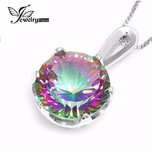 9ct Rainbow Natural Mystic Topaz Colgante Collar Encanto Genuino Real Pure 925 Collar de Plata Para Las Mujeres