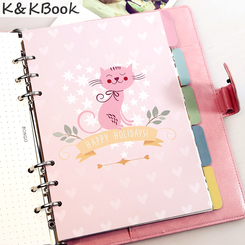 K&KBOOK New cute cartoon animal serie separator page core for spiral notebook,fashion planner index paper divider for gift A5 A6 hot 6pcs lot girls kids fashion cute candy hairpin bowknot hair clip page 4 page 9 page 1 page 7