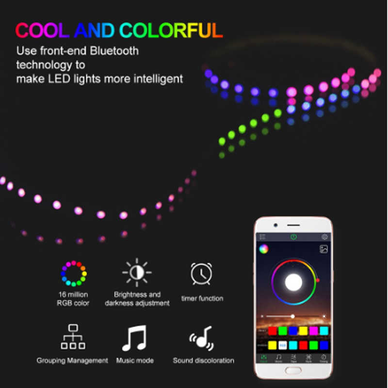 Hitam USB Konektor Smart RGB Bluetooth Timer untuk 5 V 3528 5050 RGB Strip LED Controller Multi-Warna Penggantian TV Backlight