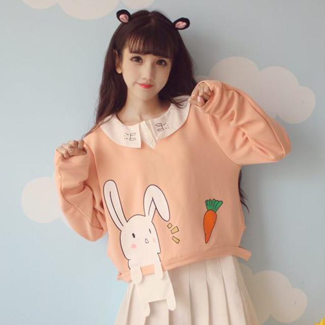 Escola Estilo japonês Dos Desenhos Animados Coelho Cenoura T Camisa Lolita Gola Peter Pan Top Colheita Colheita Blazer Primavera Outerwear para o Sexo Feminino