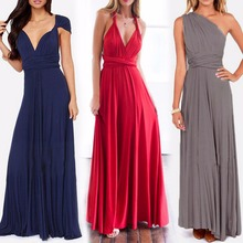 Summer Bandage Ball Gown Dress Sleeveless Halter Multi Way Wrap Convertible Elegant Party Bridesmaids Sexy Long Dresses