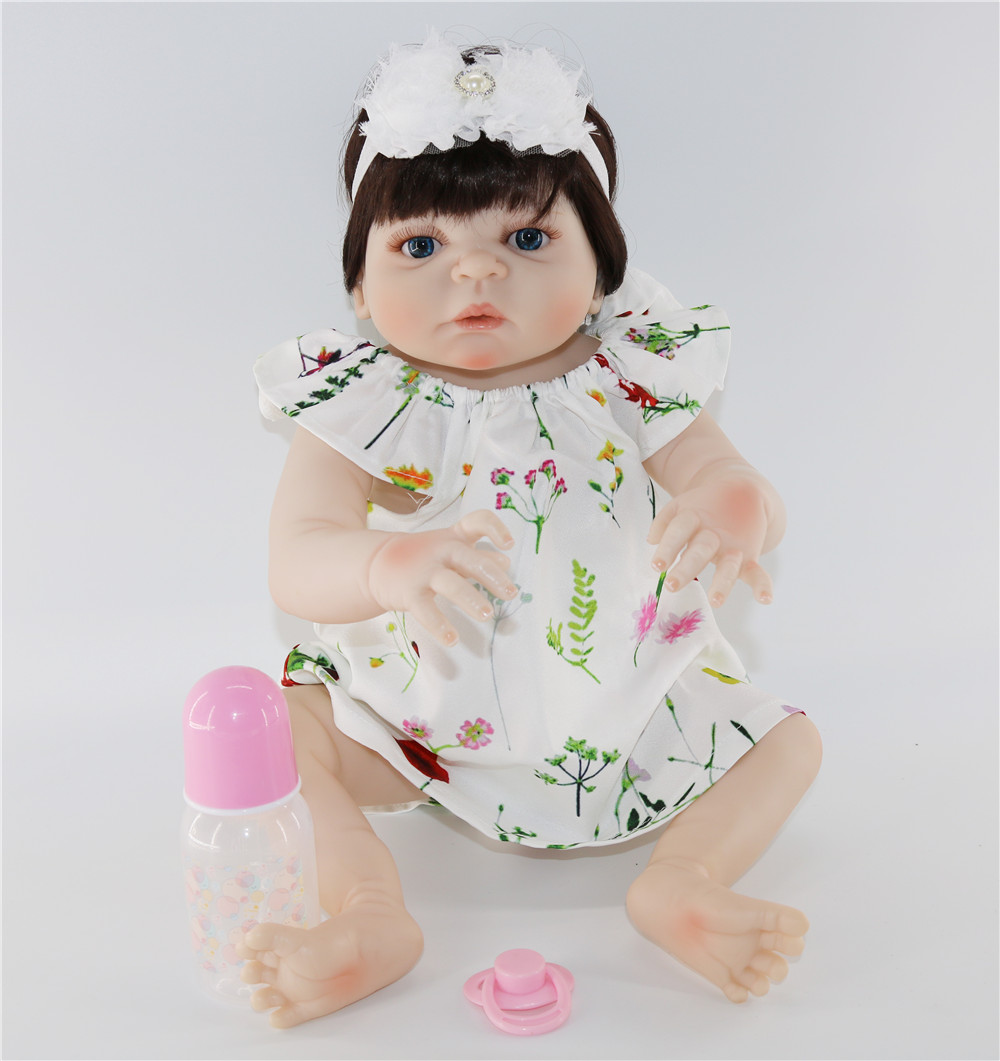 Full Body SIlicone Girl Reborn Babies Doll Bath Toy Lifelike Newborn