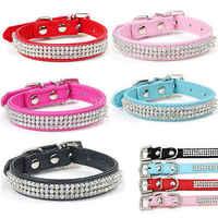 Heißer Bling Diamante Strass PU Leder Welpen Kragen für Kleine Mittelgroße Hunde Halsbänder Rosa Rot Liefert Produkte