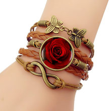 Trendy Leather Plant New 2018 European American Women's Rose Bracelet Men's Multi-layer Hand Woven Combination Jewelry Unisex(China)