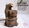 Free Shipping Barrel water fountain waterscape decoration home decoration handicraft lucky birthday gift and feng shui wheel