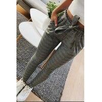 Nueva Plaid alta cintura harem Pantalones mujer verano estilo tobillo-longitud vintagel Pantalones mujer Oficina señora pantalones a rayas blanco