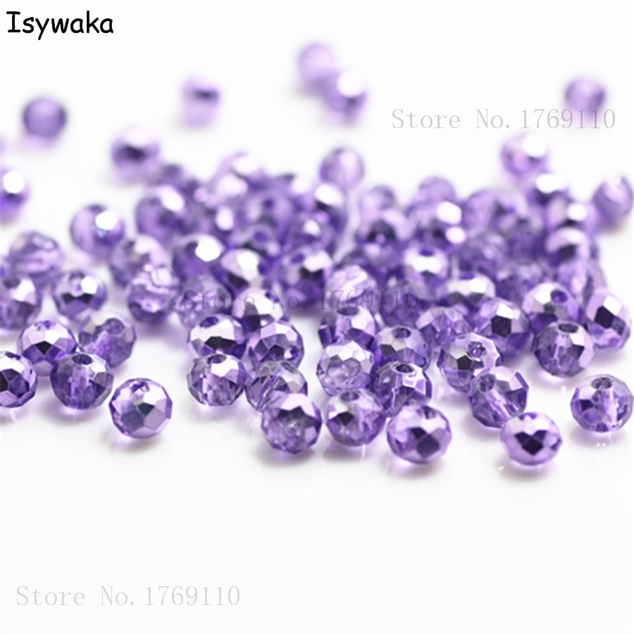 Isywaka New Light Purple Colors 4mm 145pcs Rondelle Austria Faceted Crystal Glass Beads Loose Spacer Round Beads Jewelry Making