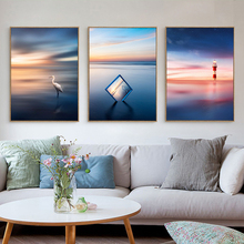 Gohipang Transparent Photo Frame Sunrise Landscape Canvas Painting Aurora Lighthouse Wall Picture Seagull Ocean Poster Decor