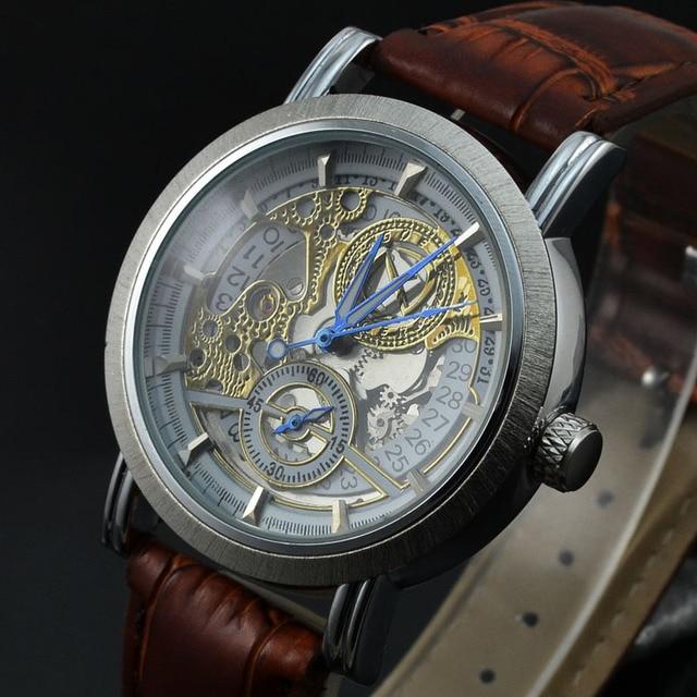 86b1f207f98 Tags Freqüentador de Relógios Pulseira de Couro Homens Esqueleto Mecânico  Automático Relógios Homens relógios homens Casuais
