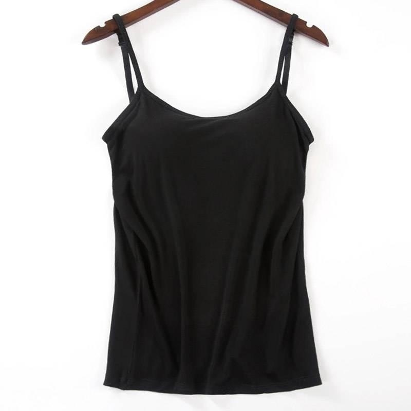 fb7caee74a1 US $4.25 24% OFF|Nieuwe Bh Tank Top Vrouwen Modale Spaghetti Solid Cami Top  Vest Vrouwelijke Hemdje Met Ingebouwde Bh 2019 Fitness kleding X3 in ...