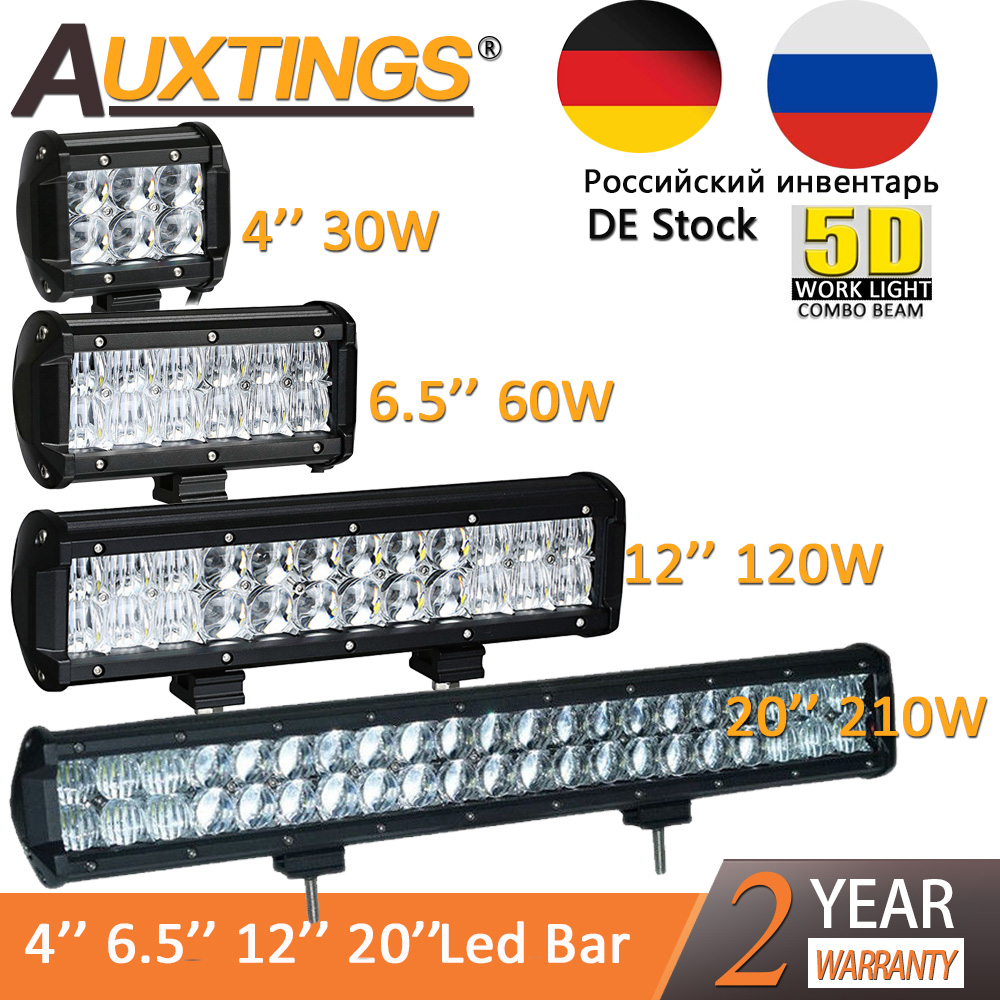 Auxtings New 4 6.5 12 20 30W 60W 120W 210W 5D LED light bar double rows IP67 waterproof 5D led work light offroad image