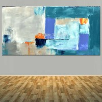 Large Size Hand Painted Abstract Canvas Oil Painting Abstract Blue Color Wall Picture Living Room